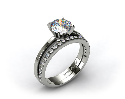 18k White Gold Cathedral Reverse Tapered Engagement Ring &amp; 0.33ct Common Prong Wedding Ring